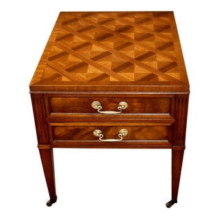 Vintage Art Deco Henredon Inlaid Mahogany Two Drawer Side Table For Sale