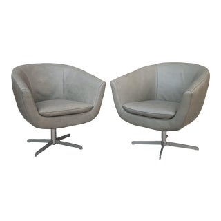 Modern Leather Swivel Bucket Chairs - a Pair For Sale
