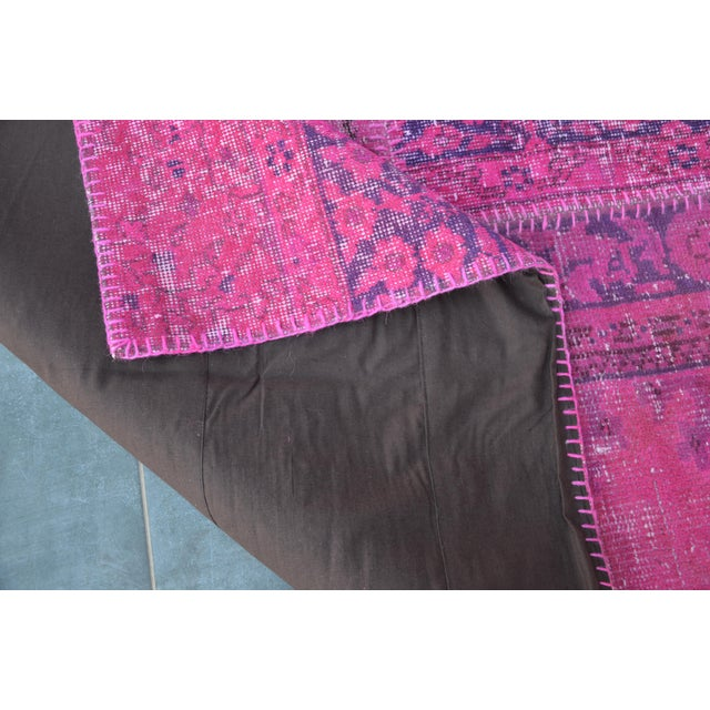 Pink Overdyed Turkish Anatolian Patchwork Carpet - 7′1″ × 10′ For Sale - Image 10 of 11
