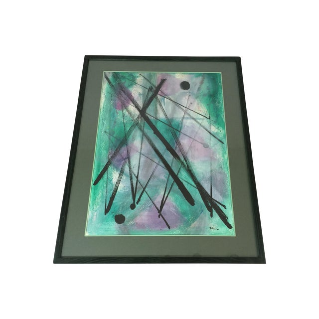 """L. Rhana - """"Untitled"""" Abstract Turquoise Painting - Image 1 of 6"""