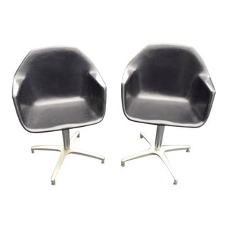 Mid-Century Modern Fiberglass Shell Swivel Chairs - a Pair For Sale