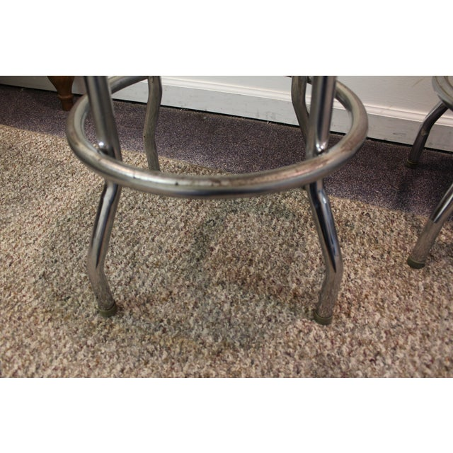 Mid Century Modern Swivel Bar Stools -- Set of 3 - Image 11 of 11