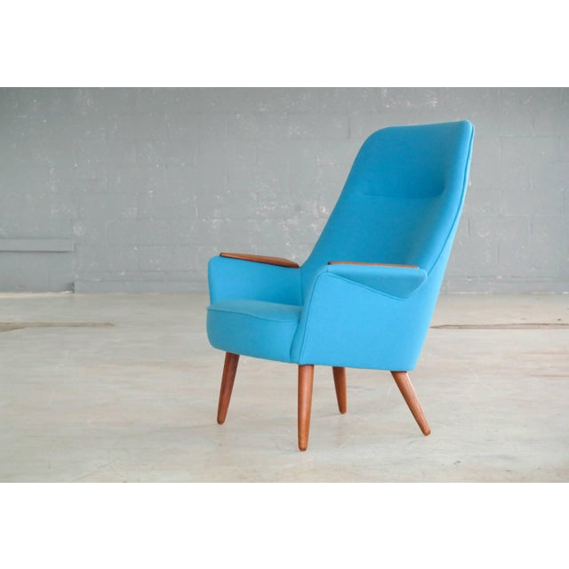 Frode Holm Attributed 1950s Lounge Chair With Teak Armrests Upholstered in Kvadrat Divino Wool For Sale - Image 10 of 10