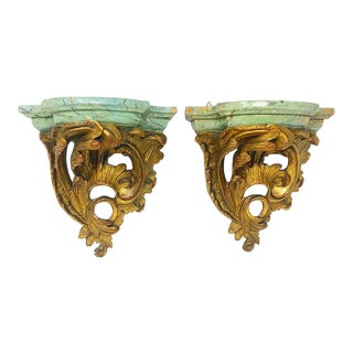1940s Vintage Plaster Italian Style Scroll Shell Carved Wall Shelf Brackets For Sale