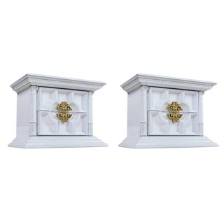 Hollywood Regency Greek Revival Gold and White Lacquer Nightstands - a Pair