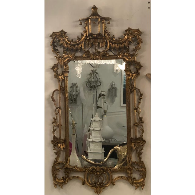 Vintage Chinoiserie Italian Labarge Carved Wood Pagoda Bells Wall Mirror For Sale - Image 11 of 13