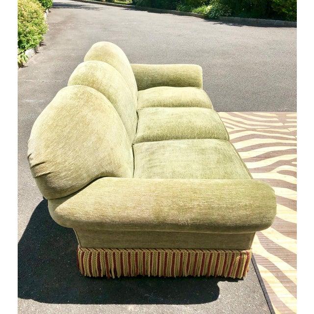 1990s Vintage Edward Ferrell Green Fringe Sofa For Sale - Image 9 of 13