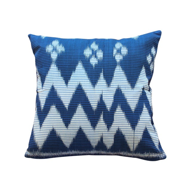 """Java Ripples"" Indigo Handwoven Ikat Pillow Cover - Image 1 of 5"
