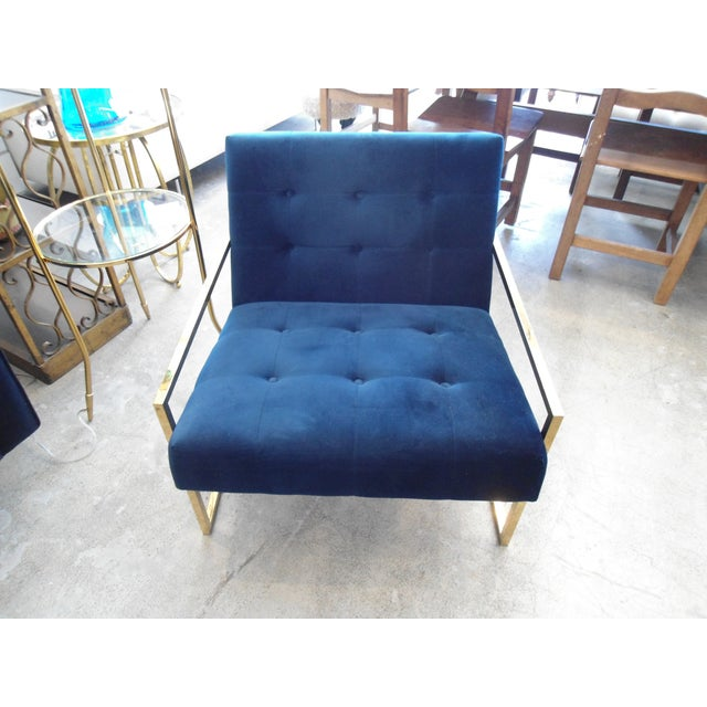 Jonathan Adler Goldfinger Blue Velvet & Brass Lounge Chair For Sale - Image 5 of 6