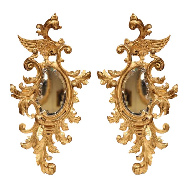 Mid-19th Century French Louis XV Carved Gilt Rococo Mirrors With Wings - A Pair For Sale