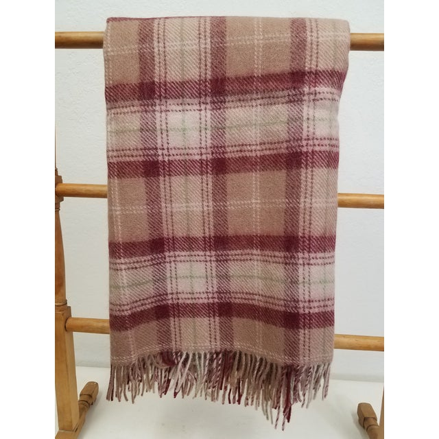Wool Throw Green, Red, Brown and White in a Plaid Design - Made in England For Sale - Image 11 of 11