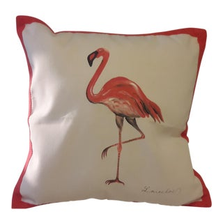 Eastern Accents Hand-Painted Flamingo Accent Pillow Cover For Sale
