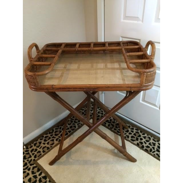 Vintage Rattan Folding Mini Bar - Image 3 of 8