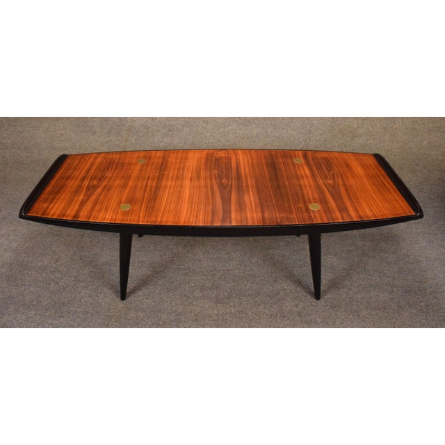 Brass 1960s Danish Modern Rosewood Coffee Table For Sale - Image 7 of 9