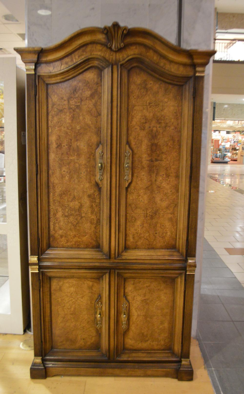 Vintage White Furniture French Country Style Burl Wood Armoire   Image 3 Of  11