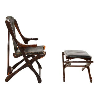 Don Shoemaker Mid Century Mexican Modernist Folding Chair With Matching Ottoman For Sale