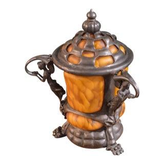1980s Art Nouveau Bronze & Heavy Art Glass Urn For Sale