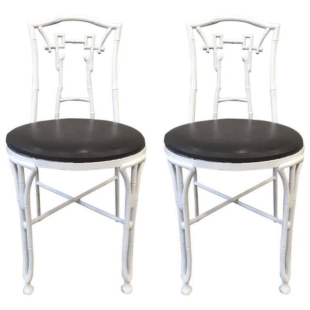 Black Pair of Asian Style Faux Bamboo Side Chairs For Sale - Image 8 of 8