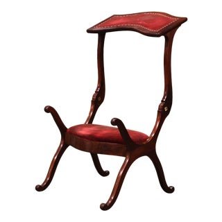 19th Century French Carved Walnut Metamorphic Prayer Kneeler Bench or Chair For Sale