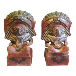 Vintage Mexican Pottery Statues Cocijo Diety Sculpture 16 inch - A PAIR For Sale