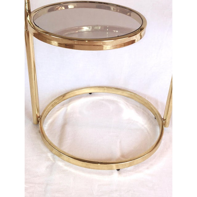 Hollywood Regency Brass and Smoked Glass Swivel Side Table by Dia, 1970's For Sale - Image 12 of 13