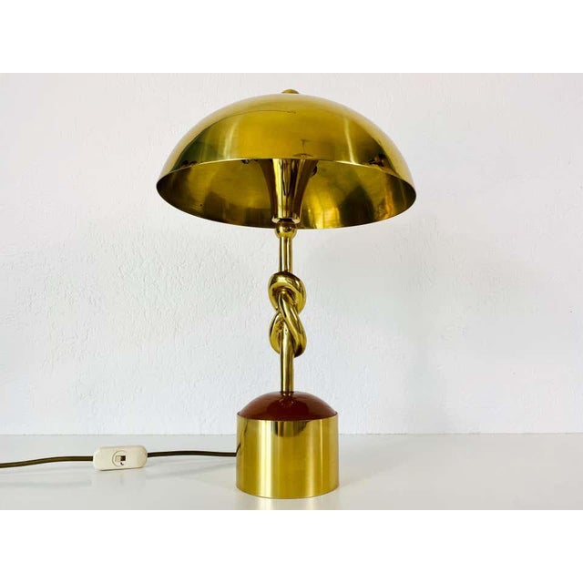 Heavy Italian Midcentury Solid Brass Table Lamp, 1960s, Italy For Sale - Image 6 of 13