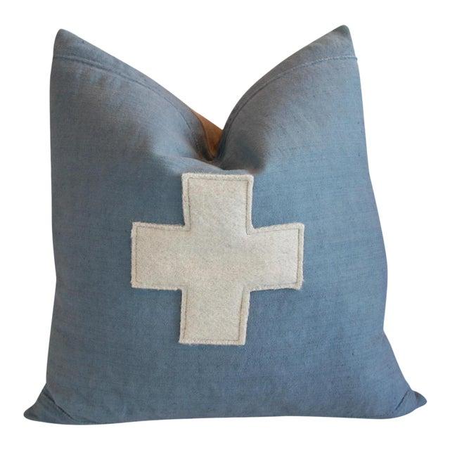 "22"" Large Custom Powder Blue Appliqué Cross Feather/Down Pillow For Sale"