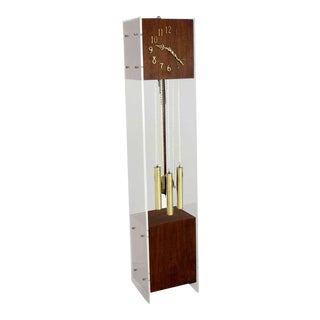 Mid Century Modern Walnut Lucite Grandfather Clock With Chime For Sale