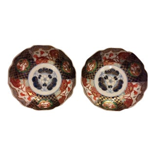 Antique Japanese Painted Imari Bowls - A Pair