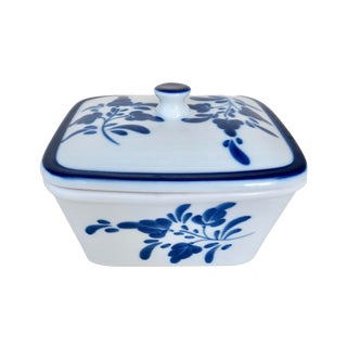 Vintage Blue and White Floral Handpainted Portugal Ceramic Box With Lid For Sale