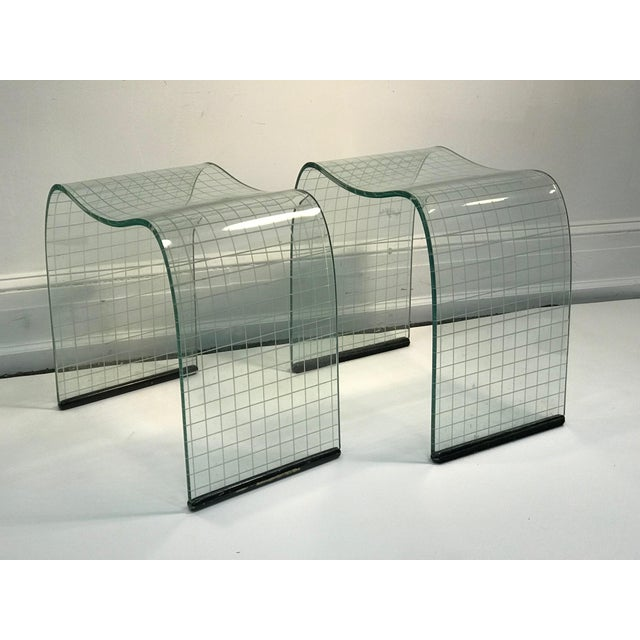 """Pair of Vittorio Livi curved glass crystal scrolls or side tables. Late 20th century. Measuring 19"""" by 13 1/2"""" in depth,..."""