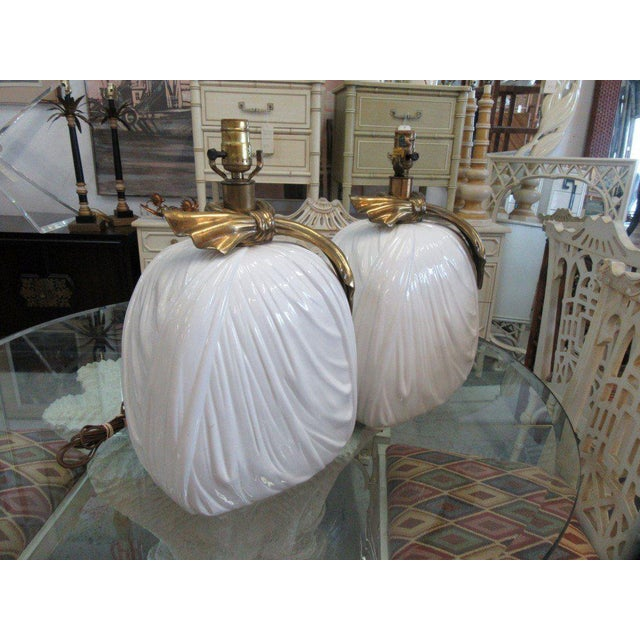 Chapman Brass & Ceramic Lamps - A Pair - Image 3 of 6