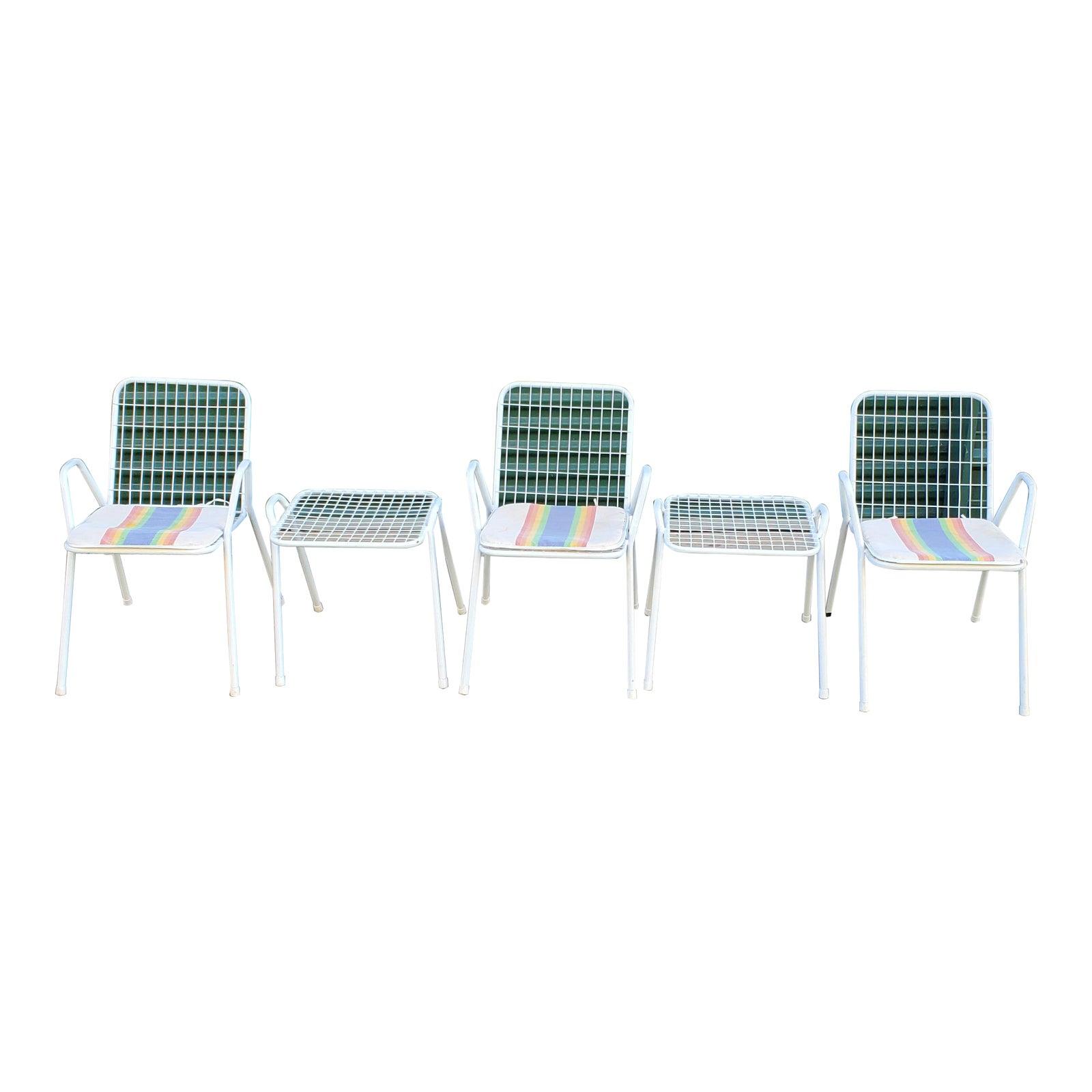 Emu Mid Century Modern White Wire Italian Outdoor Furniture-Set of 5