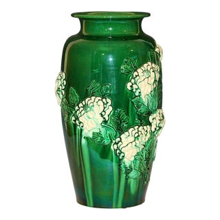 Large Japanese Awaji Pottery Chrysanthemum Vase For Sale