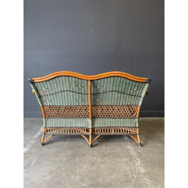 Vintage French Grange Wicker Sofa and Coffee Table For Sale - Image 9 of 13