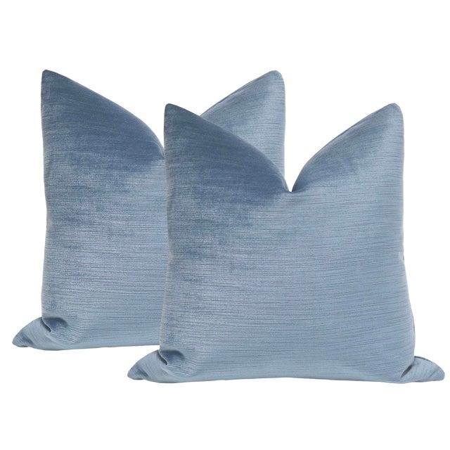 "22"" Strie Velvet Chambray Pillows - a Pair For Sale"
