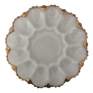 1950s Mid-Century Anchor Hocking Milk Glass Egg/Oysters Plate For Sale