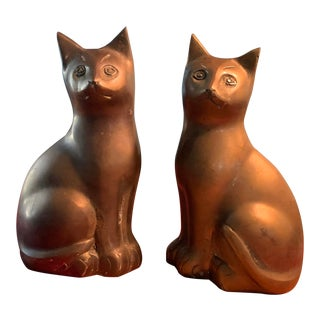 Vintage Brass Cat Figurines - a Pair For Sale