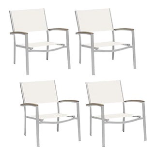 Outdoor Sling Lounge Chair, Vintage and Natural (Set of 4) For Sale