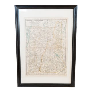 Vermont & New Hampshire Hand Colored Antique Map For Sale