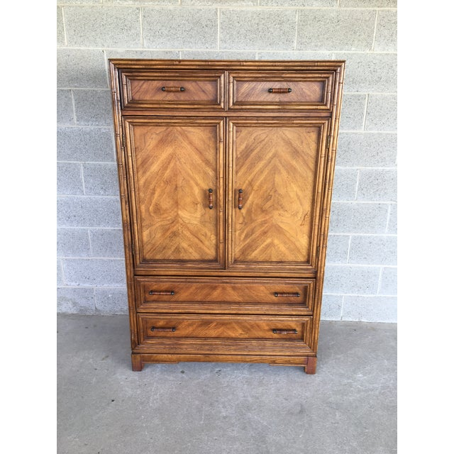 Century Chair Company Faux Bamboo Armoire - Wardrobe Cabinet For Sale - Image 9 of 9