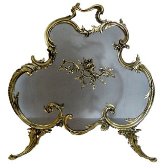 French Brass Fire Screen Adorned With a Fire Cheriot, 19th Century For Sale