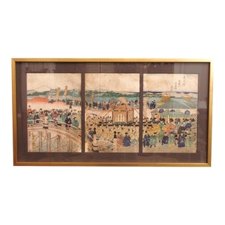 19c Japanese Woodblock Print Triptych, Attributed to Kuniteru,1829-1874 For Sale