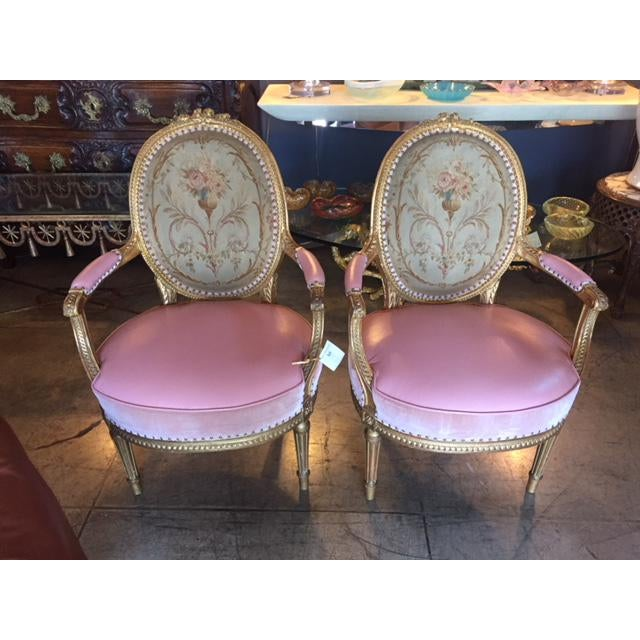 19th Century French Carved Gilt & Pink Leather Aubusson Back Arm Chairs - a Pair For Sale - Image 13 of 13