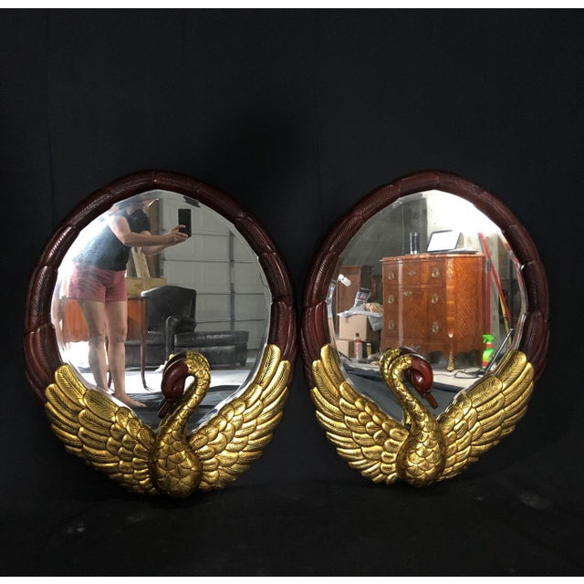 Hollywood Regency Oval Mirrors With Gold Gilt Swan Figures -A Pair For Sale - Image 9 of 9