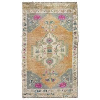 """Vintage Turkish Multi-Color Rug-1'1'x2'1"""" For Sale"""