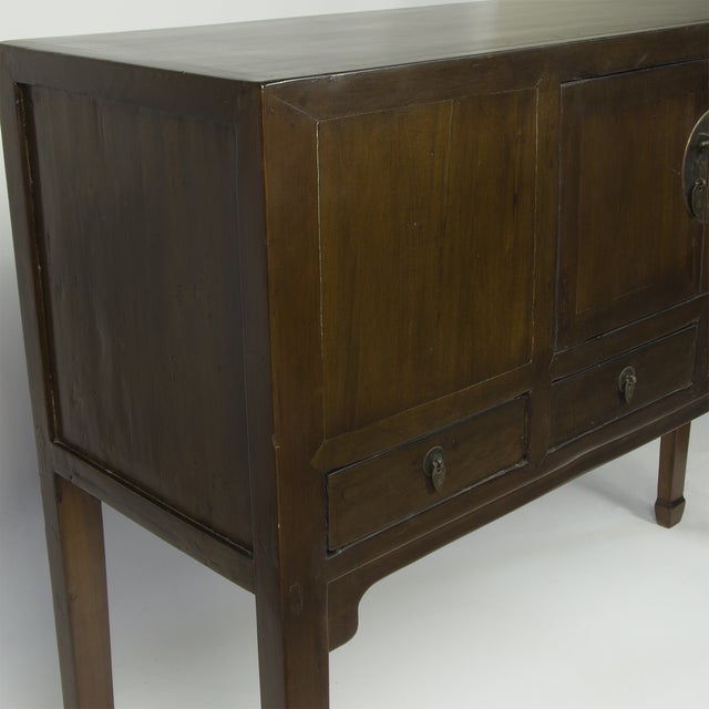 Asian Antique Brown Tall Shangdon Sideboard For Sale - Image 3 of 3