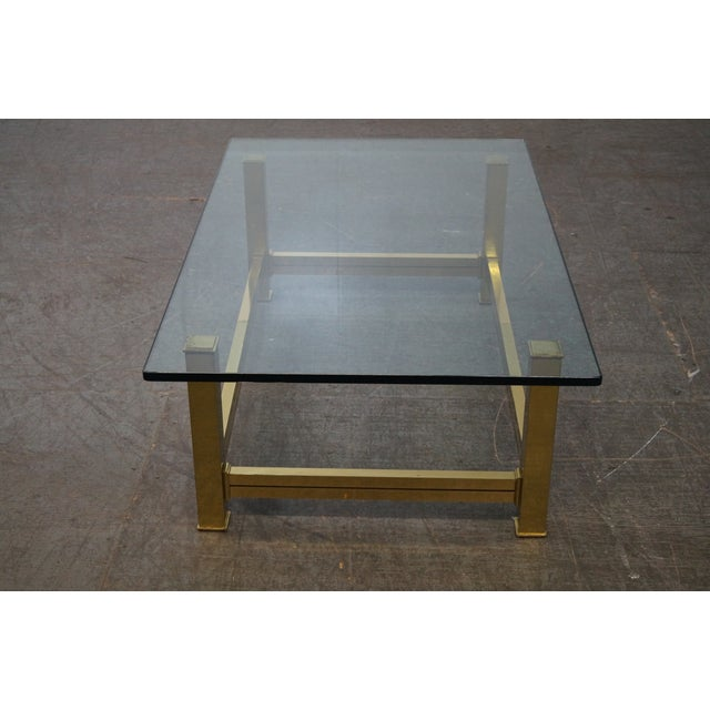 Mid-Century Modern Mastercraft Brushed Brass & Glass Coffee Table For Sale - Image 3 of 10