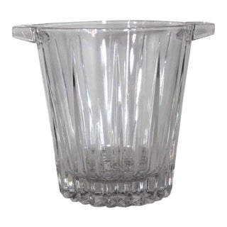 1960s Mid-Century Modern Large Handled Sunburst Radiance Crystal Glass Ice Bucket