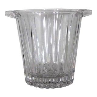 1960s Mid-Century Modern Large Handled Sunburst Radiance Crystal Glass Ice Bucket For Sale